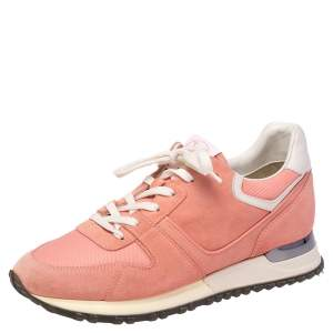 Louis Vuitton Pink Suede and Mesh Run Away Sneakers 37