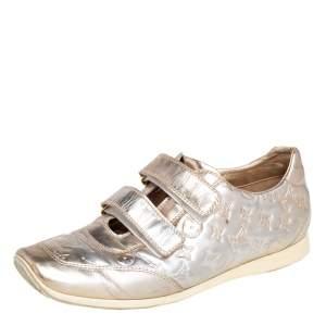 Louis Vuitton Metallic Gold Monogram Leather Velcro Strap Sneakers  Size 40.5