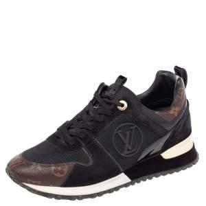 Louis Vuitton Black/Brown Mesh And Monogram Canvas Run Away Low Top Sneakers Size 38.5