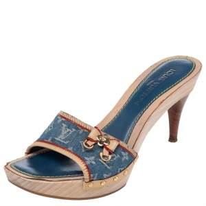 Louis Vuitton Blue/Beige Monogram Denim And Leather Bow Detail Slides Sandals Size 38.5