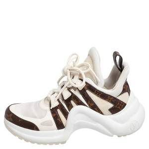 Louis Vuitton White/Brown Mesh And Monogram Canvas Archlight Low Top Sneakers Size 38.5