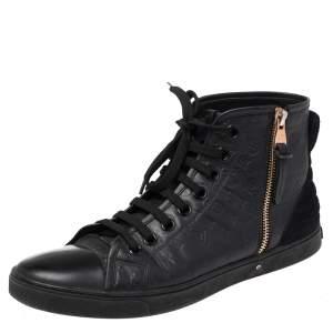 Louis Vuitton Black Monogram Empreinte Leather Punchy High Top Sneakers Size 39