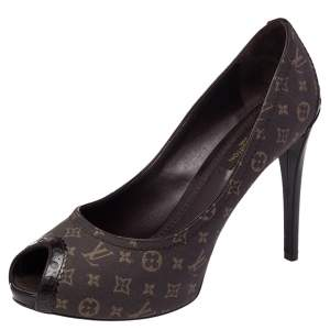 Louis Vuitton Fusian Monogram Idylle Canvas Romance Peep Toe Pumps Size 37