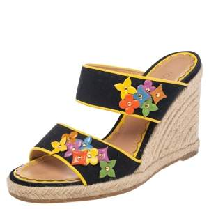 Louis Vuitton Black/Yellow Canvas And Patent Leather Trim Flowers Wedge Espadrilles Sandal Size 37