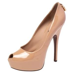 Louis Vuitton Beige Patent Leather Oh Really! Peep Toe Pumps Size 40