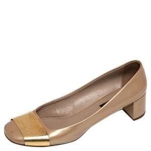 Louis Vuitton Gold Patent Leather Block Heel Pumps Size 39