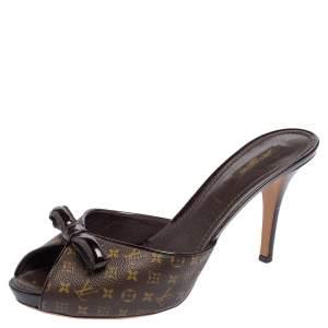 Louis Vuitton Monogram Canvas Bow Slide Mule Sandals Size 41