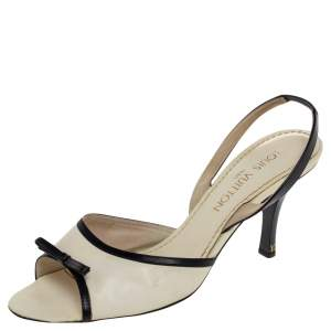 Louis Vuitton White/Black Leather Slingback Sandals Size 39