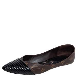 Louis Vuitton Brown Monogram Canvas & Patent Leather Inspired Pointed Cap Toe Ballet Flats Size 40.5