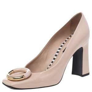 Louis Vuitton Beige Patent Leather Madeleine Logo Block Heel Pumps Size 36