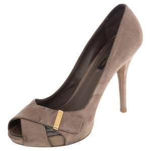 Louis Vuitton Beige Suede Criss Cross Peep Toe Pumps Size 36.5