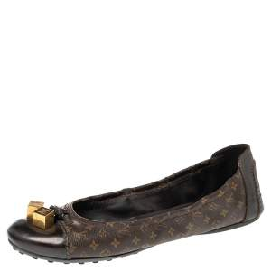 Louis Vuitton Monogram Canvas and Patent Leather Lovely Scrunch Ballet Flats Size 40