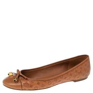 Louis Vuitton Tan Monogram Embossed Leather Bow Dice Ballet Flats Size 40