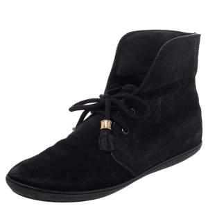 Louis Vuitton Black Suede Ankle Length Boots Size 37