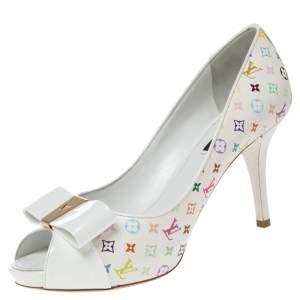 Louis Vuitton White Multicolor Monogram Canvas and Patent Leather Bow Peep Toe Pumps Size 37.5