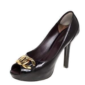 Louis Vuitton Amarante Monogram Vernis Claudia Peep Toe Pumps Size 38.5