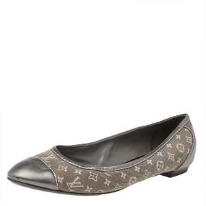 Louis Vuitton Metallic Grey Monogram Canvas And Leather Ballet Flats Size 37.5