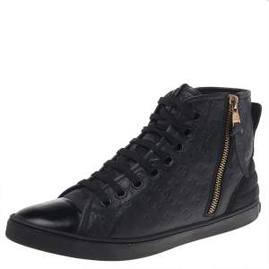 Louis Vuitton Black Empreinte Leather and Suede Punchy High Top Sneakers Size 38