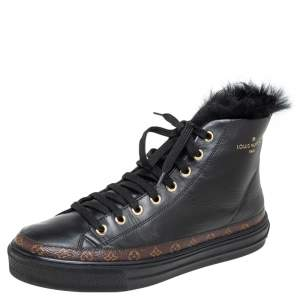 Louis Vuitton Black Leather  And Monogram Canvas Stellar High Top Sneaker Size 36.5