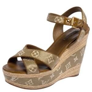 Louis Vuitton Green Canvas Crisscross Singback Sandals Size 40