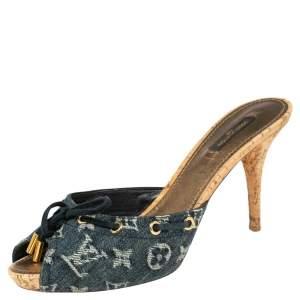 Louis Vuitton Blue Monogram Denim Canvas Slide Sandals Size 40