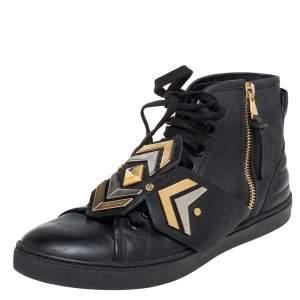 Louis Vuitton Black Leather Karakoram Pattern Punchy Sneaker Boots Size 36