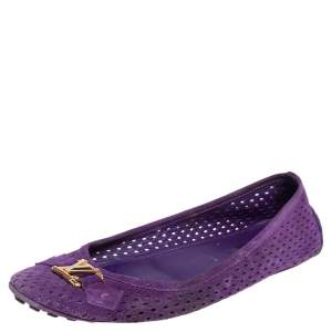 Louis Vuitton Purple Perforated Suede Ballet Flats Size 39