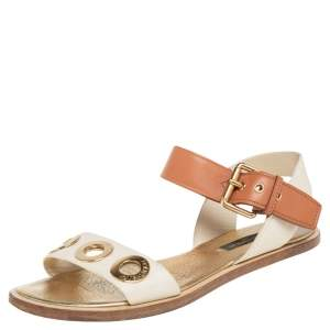 Louis Vuitton Cream/Brown  Leather  Slingback Flat Sandals Size 36
