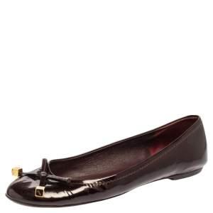 Louis Vuitton Burgundy Patent Leather Dice Ballet Flats Size 39