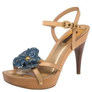 Louis Vuitton  Tan Monogram Denim Floral Platform Strappy Sandals Size 36.5