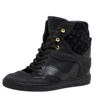 Louis Vuitton Black Leather  And Embossed Monogram Suede Millenium Wedge Sneakers Size 35