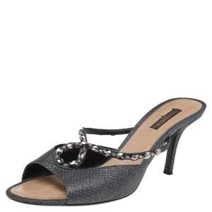 Louis Vuitton Black Leather Embellished Slide Sandals Size 39
