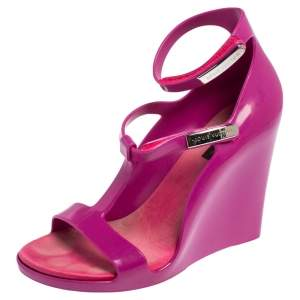 Louis Vuitton Purple Jelly Strappy Wedge Sandals Size 37