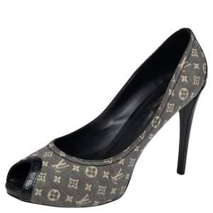 Louis Vuitton Encre Monogram Idylle Canvas Romance Peep Toe Pumps Size 40.5