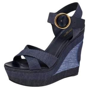 Louis Vuitton Blue Denim and Leather Ocean Criss Cross Wedge Sandals Size 39