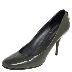 Louis Vuitton Olive Green Patent Leather Oh Really!  Pumps Size 39.5
