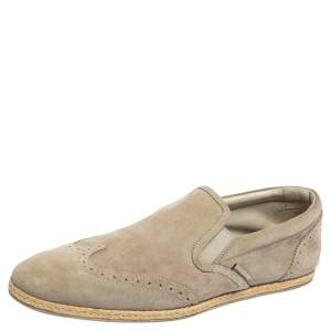 Louis Vuitton Grey Suede Brogue Slip On Espadrille Loafers Size 38.5