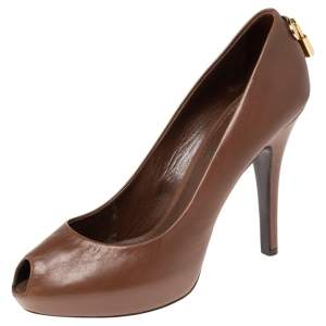 Louis Vuittonr Brown Leather Oh Really! Peep Toe Pumps Size 37
