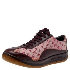 Louis Vuitton Brown/Red Monogram Canvas And Leather Low Top Sneakers Size 39