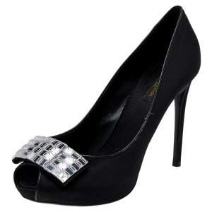 Louis Vuitton Black Satin Embellished Peep Toe Pumps Size 39