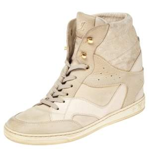 Louis Vuitton Cream Suede and Leather Cliff Top Sneaker Boots Size 38.5