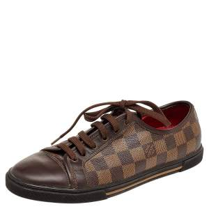 Louis Vuitton Damier Ebene And Leather Punchy Low Top Sneakers Size 37.5