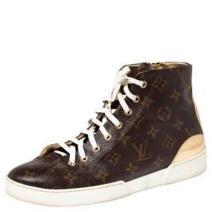 Louis Vuitton Gold Monogram Canvas and Leather Stellar Sneaker Boots Size 40