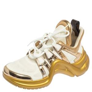 Louis Vuitton Metallic Gold/White Mesh and Leather LV Archlight Sneakers Size 38