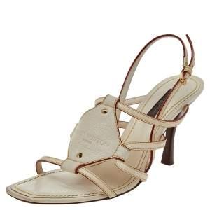 Louis Vuitton Cream Leather Ankle Strap Sandals Size 36.5