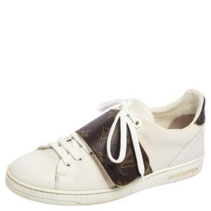 Louis Vuitton White Leather and Monogram Coated Canvas Frontrow Sneakers Size 37.5