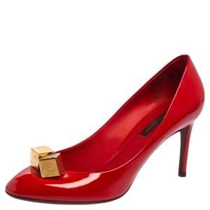 Louis Vuitton Red Vernis Leather Dice Pumps Size 37
