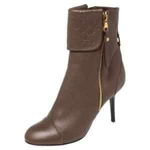 Louis Vuitton Dark Beige Fold Over Ankle Zipper Boots Size 39