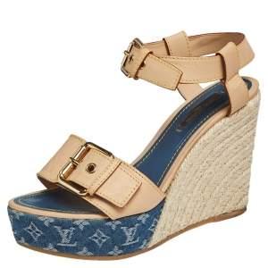 Louis Vuitton Blue/Beige Leather and Monogram Denim Espadrilles Wedge Sandals Size 37