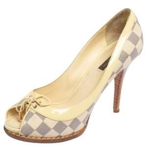 Louis Vuitton Beige Damier Azur Canvas And Patent Leather Peep Toe Pumps Size 39